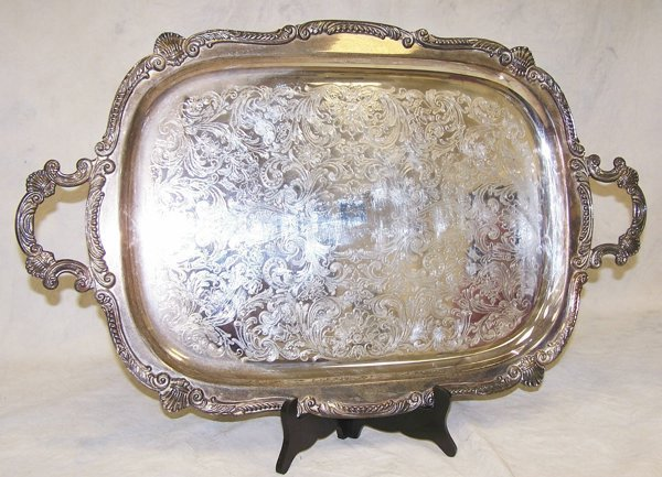 2: Large silverplate footed and handled tray, hallmarke