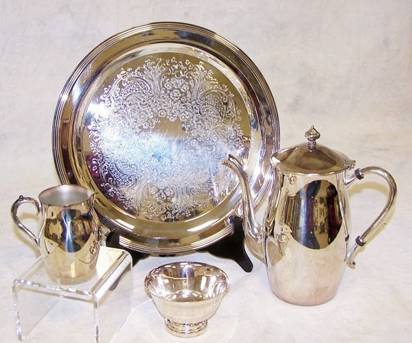"""3: Silverplate tea service with tray - 12"""" diameter by"""