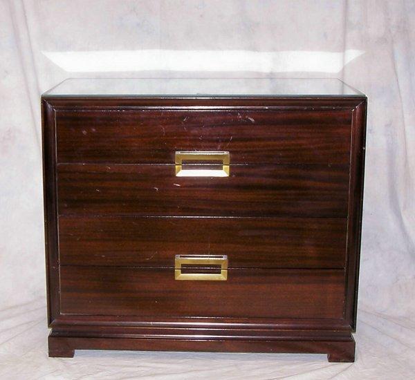 8: Mid Century mahogany two drawer chest, Danish modern