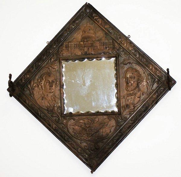 9: Centennial copper relief mirror and coat hang, New Y