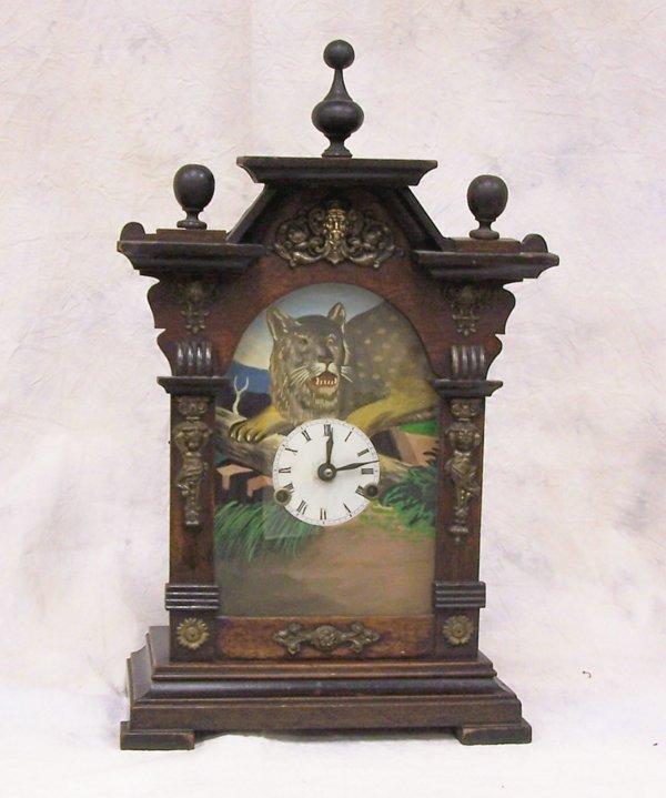 13: Mid 19th century victorian mantel clock mahogany ca