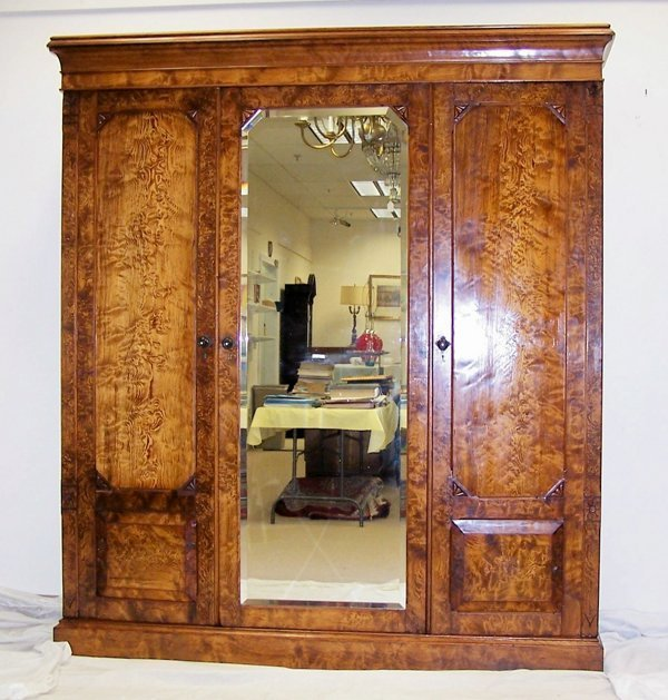 14: Late 19th c. grained and burl walnut armoire. Measu