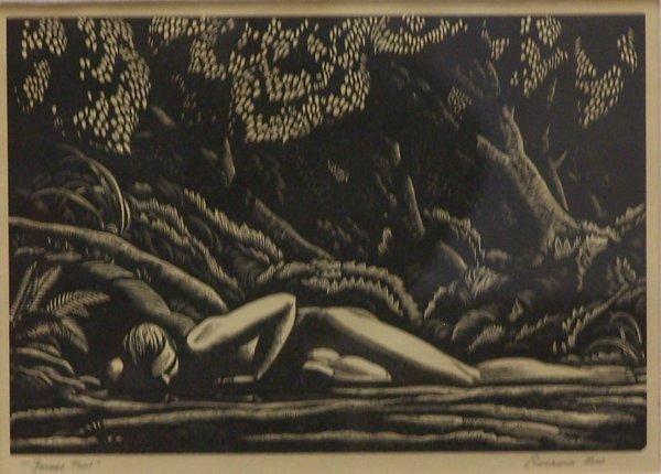 "21: Rockwell Kent - B/W woodcut ""Forest Pool""  6"" x 8-7"