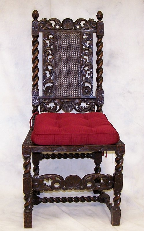 23: Single, mid 19th c. Gothic Revival hall chair: meas