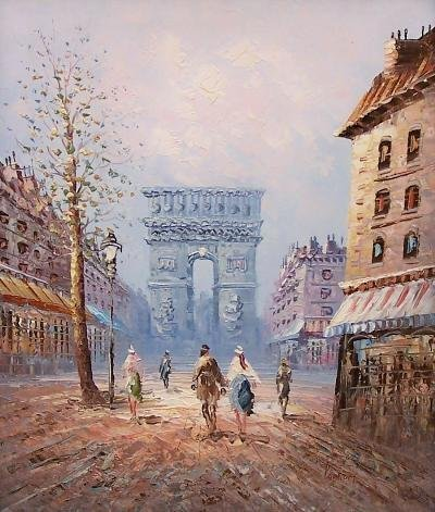 22: O/C Parisian citiscape in fall Category: Art