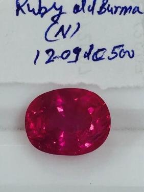 Natural Old Mine Burma Ruby 12.09 Carats - no Treatment