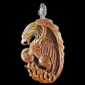 Natural Stone Hand carved Griffin Pendant