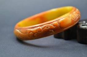 Antique Chinese Jade Double Dragon Carved Bracelet