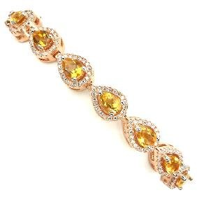 Natural Yellow Citrine & CZ Bracelet