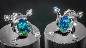 Stunning Fire Opal & Topaz Earrings/Studs