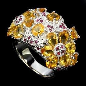 Natural Citrine & Ruby Ring