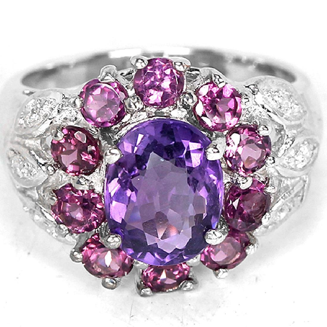 Natural Amethyst & Rhodolite Garnet Ring