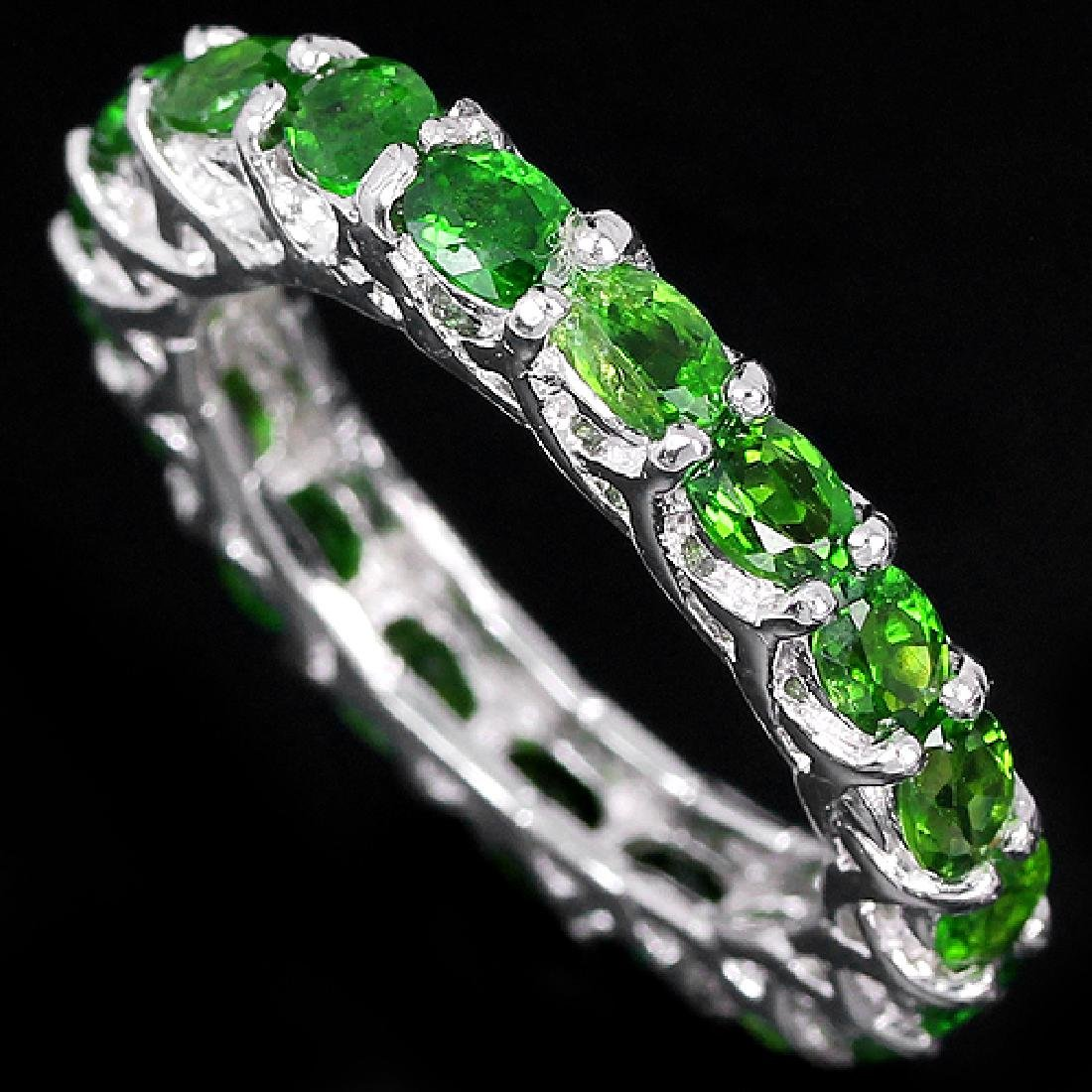 Natural Green Chrome Diopside Eternity Band