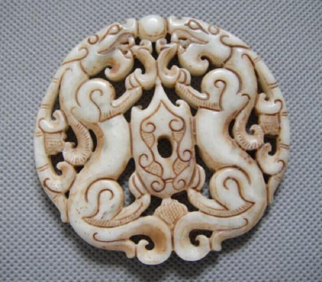 Old Jade Hand Craved Dragon Pendant