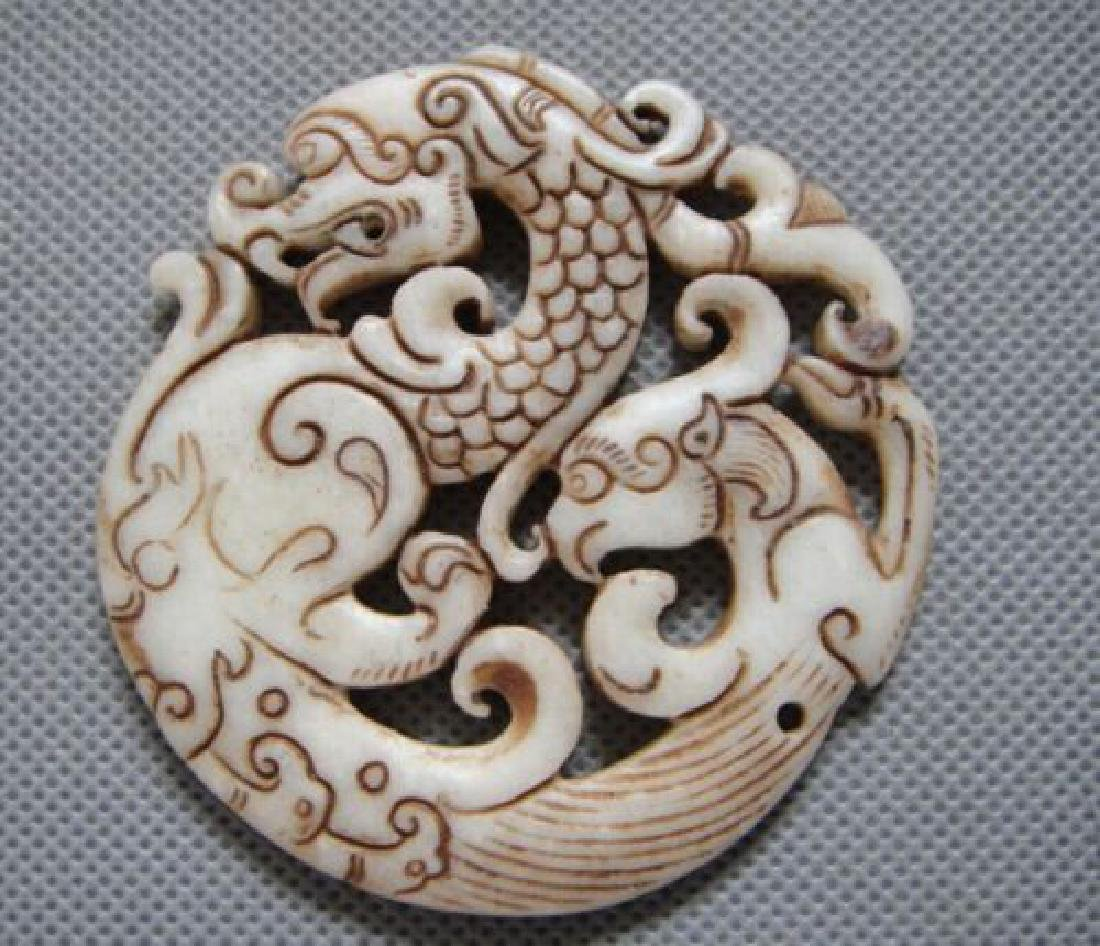 Old China Jade hand-carved Dragon & Phoenix Pendant