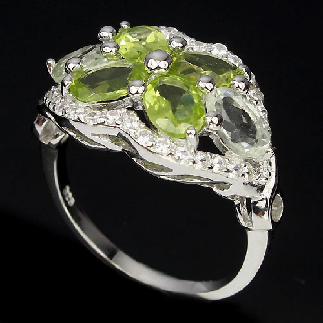Natural Peridot & Light Tea Green Amethsyt Ring