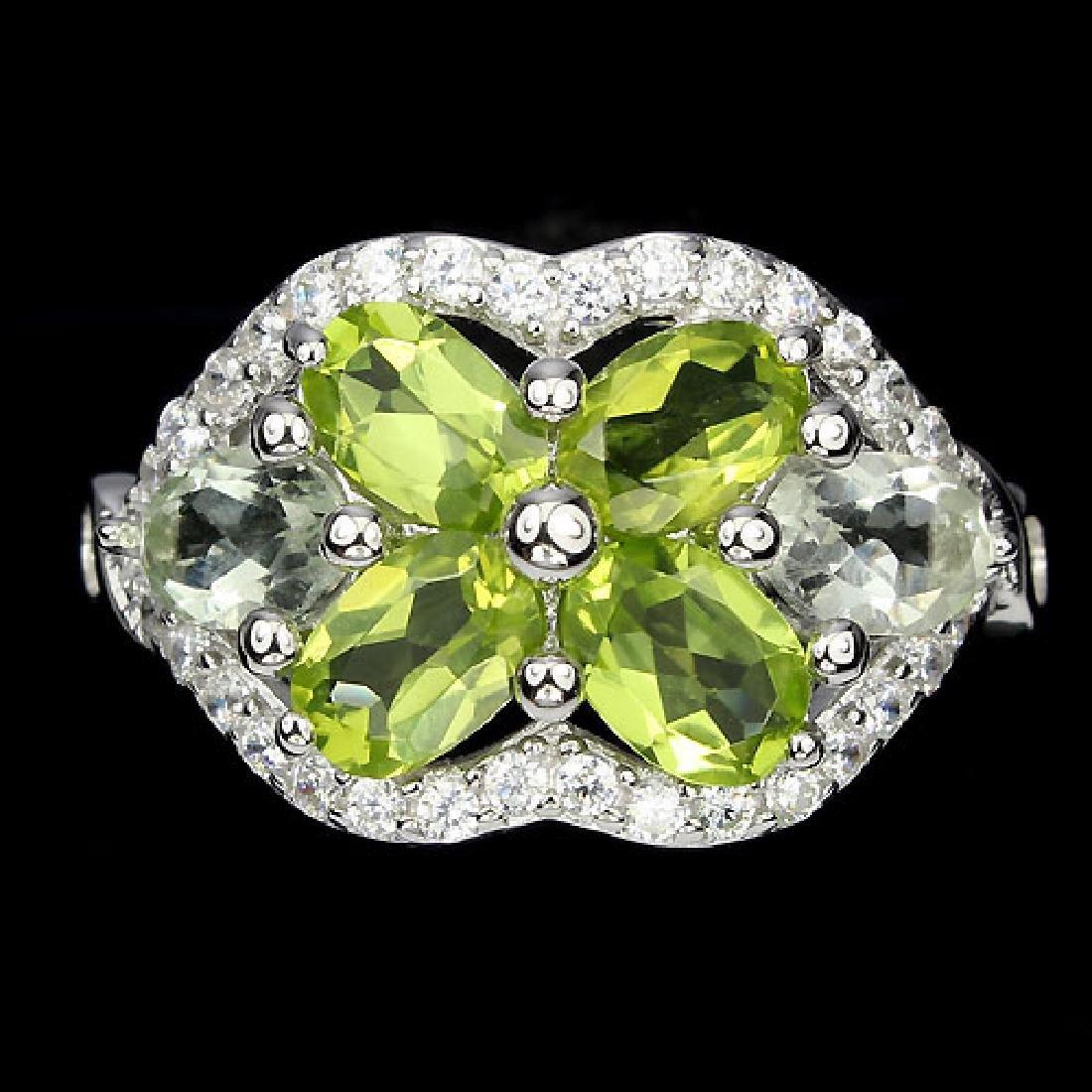 Natural Peridot & Light Tea Green Amethsyt Ring - 2