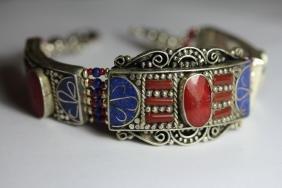 Tibet Hand Made Coral & Lapis Lazuli Bracelet