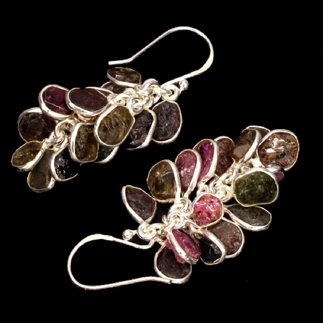 Natural Rough Tourmaline Earrings - 2