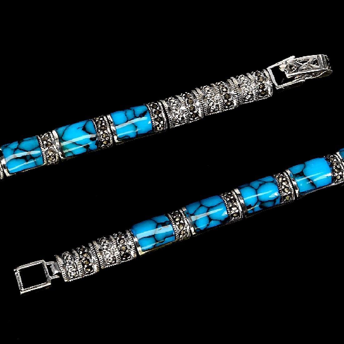 Natural Blue Turquoise Bracelet - 2