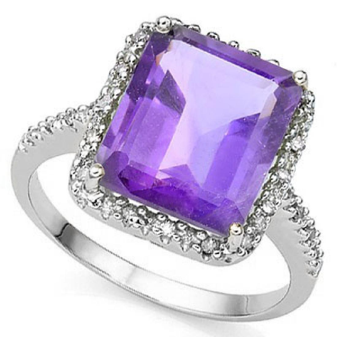 Natural Amethyst & Diamond 5.30 carats Ring