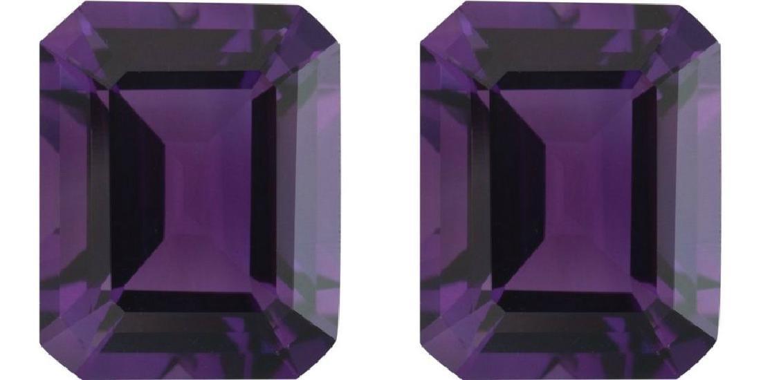 Natural Emerald Cut Amethyst Pair 20.01 Carats - VVS