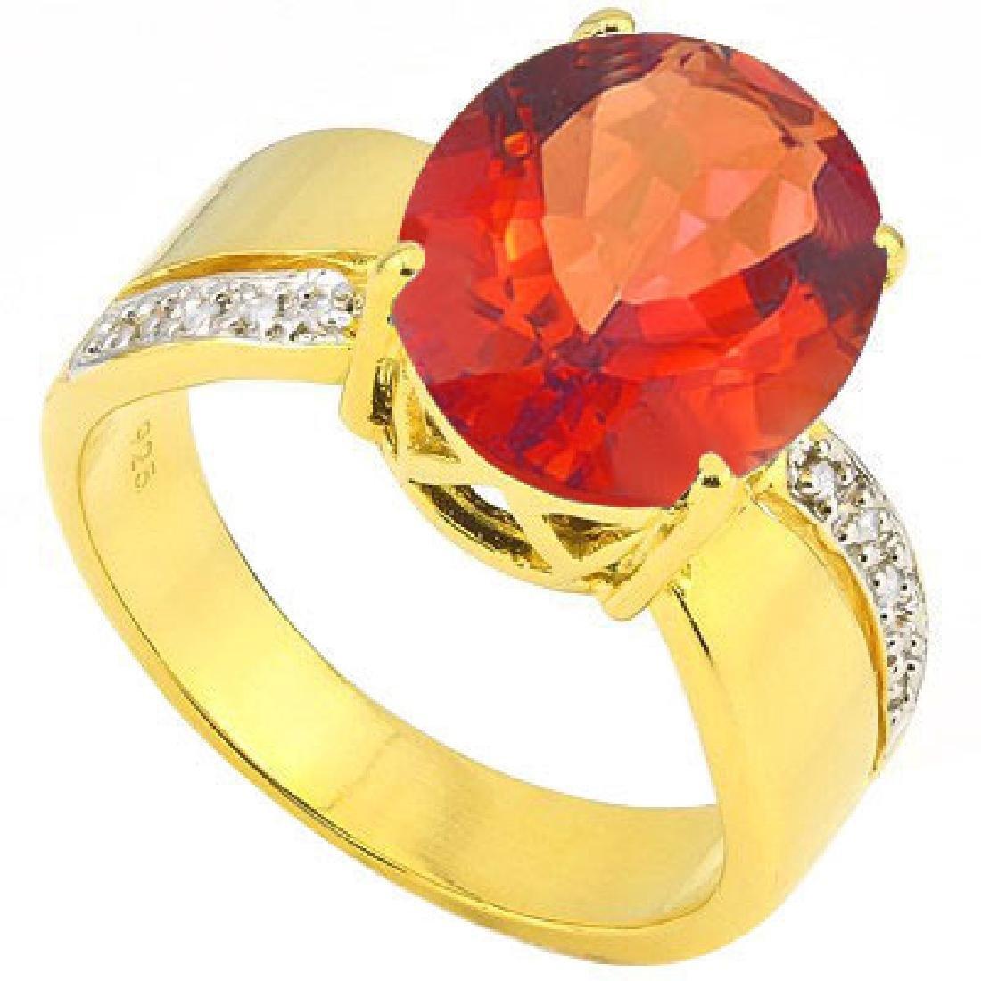 Stunning Hessonite & Diamond Ring