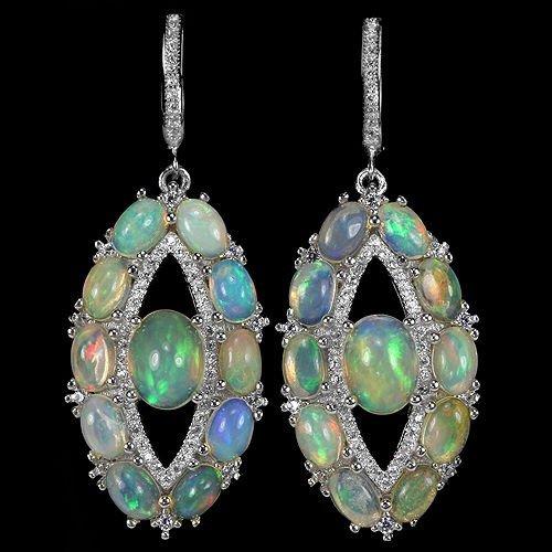 Natural Rainbow White Opal Earrings