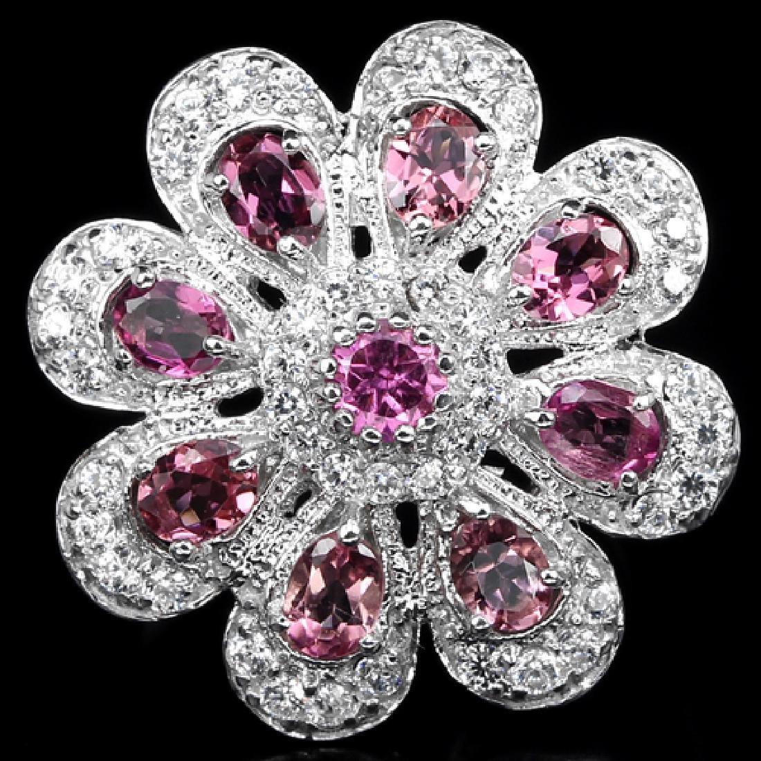 Natural Pink Tourmaline Flower Ring