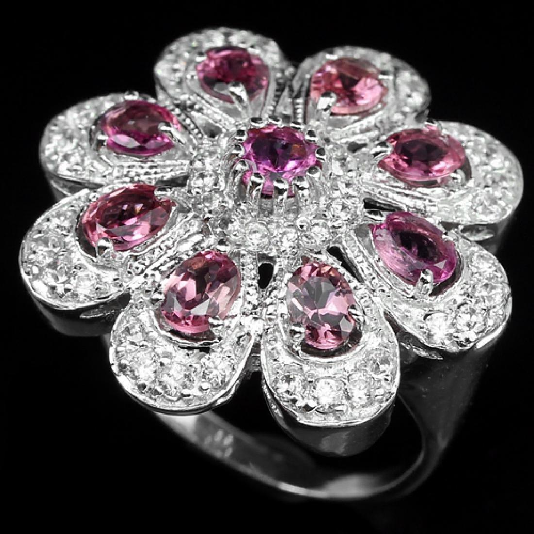 Natural Pink Tourmaline Flower Ring - 2