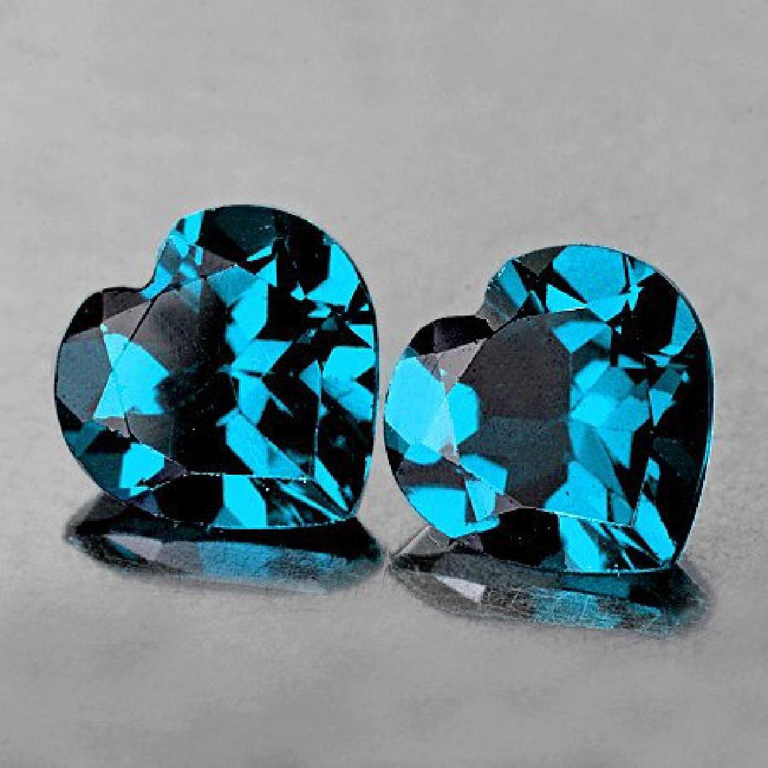 Natural London Blue Topaz Heart Pair 7.00 mm Flawless
