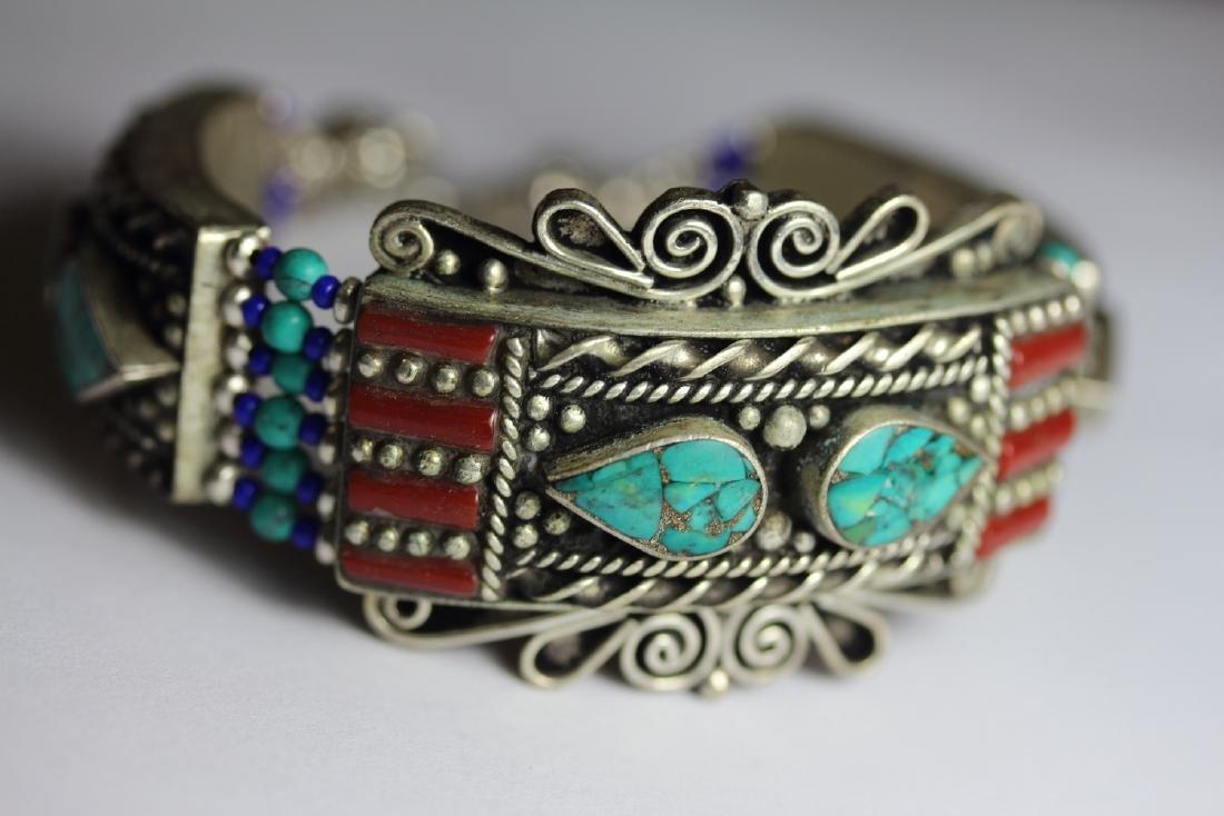 Tibet Hand Made Turquoise, Coral, Lapis Lazuli Bracelet