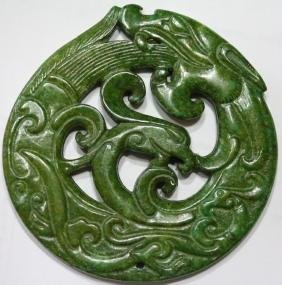 Old Green Jade Dragon Pendant