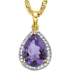 Natural Amethyst & Diamond 3.75 carats Pendant