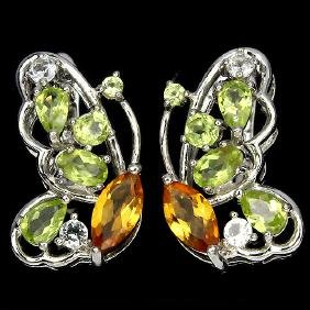 Natural Multi Gemstone Butterfly Earrings