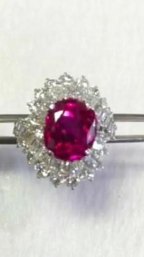 Natural Red Burma Ruby & Diamond Ring - GIA
