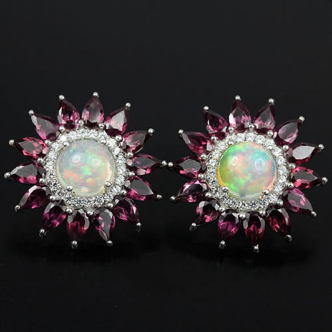 Natural Fire Opal & Rhodolite Garner Earrings