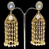 Natural Luster Moonstone  Pearl  Earrings