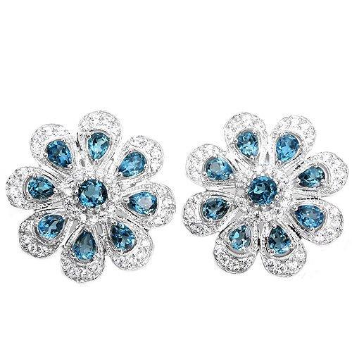 Natural London Blue Topaz Flower Earrings