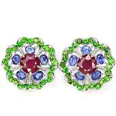 Natural RUBY SAPPHIRE  CHROME DIOPSIDE Earrings
