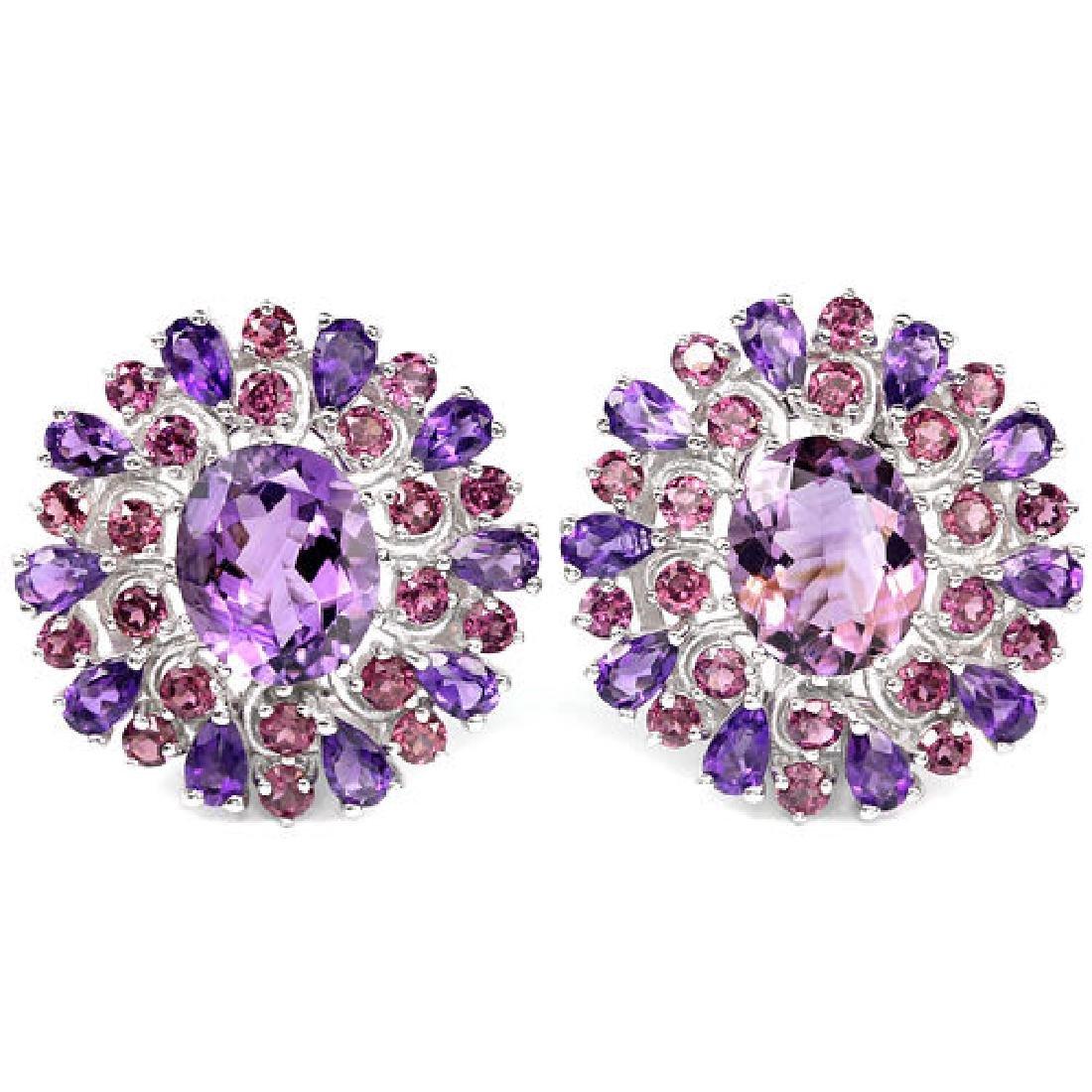 Natural Purple Amethyst & Rhodolite Garnet Earrings