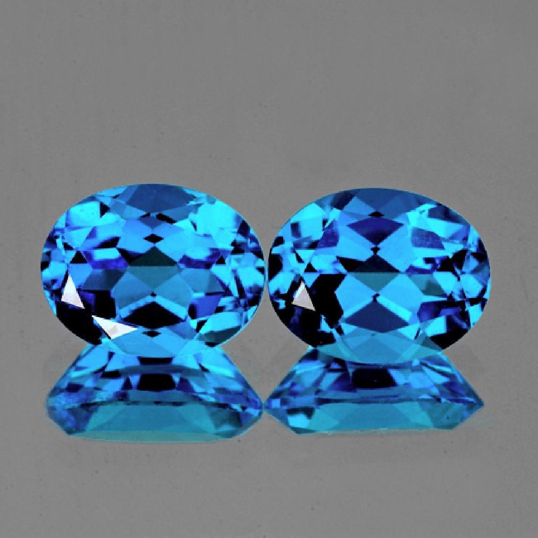 Natural Swiss Blue Topaz Pair 8x6 MM - Flawless