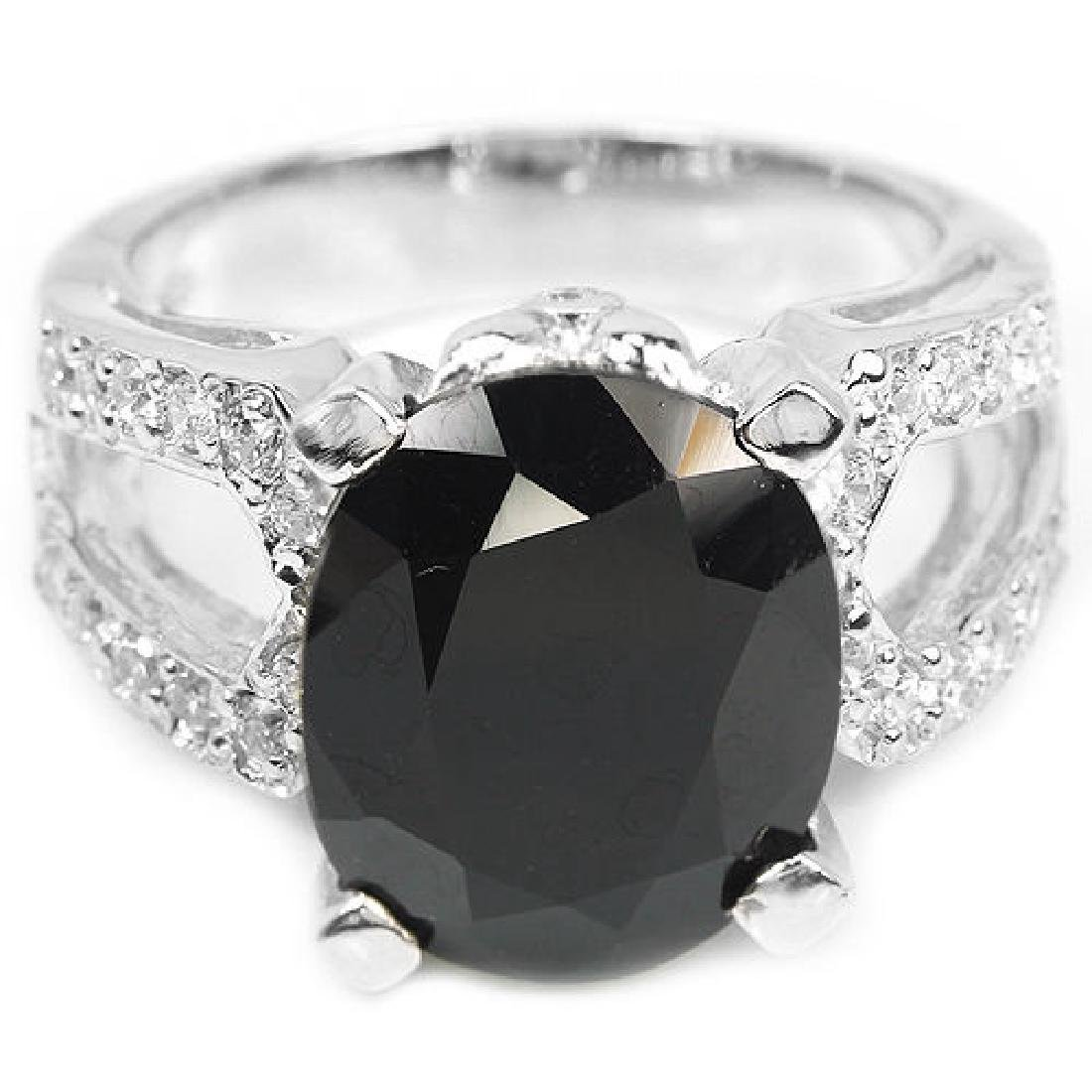Natural Black Spinel 35 Carats Ring