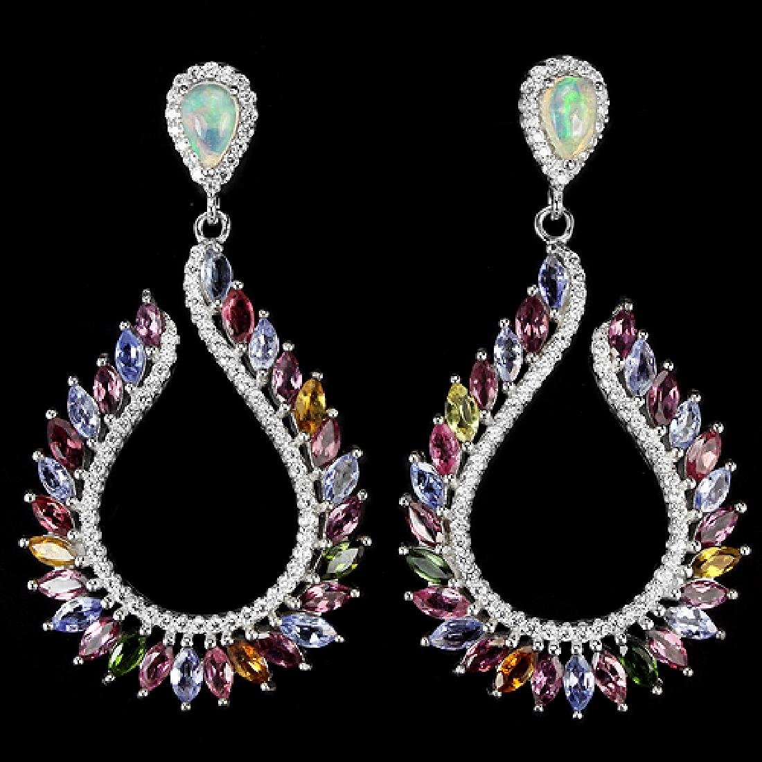 Natural Opal Tanzanite & Tourmaline Earrings