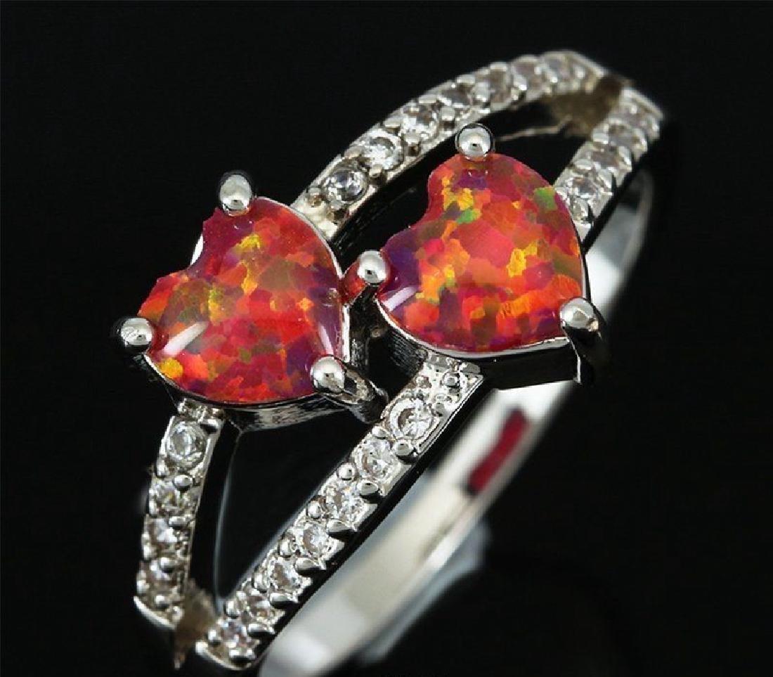 Stunning Fire Double Heart Opal Ring