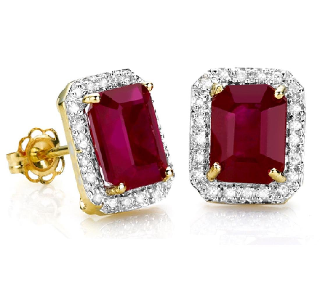 Genuine Ruby & Diamonds Carats Solid Gold Earrings