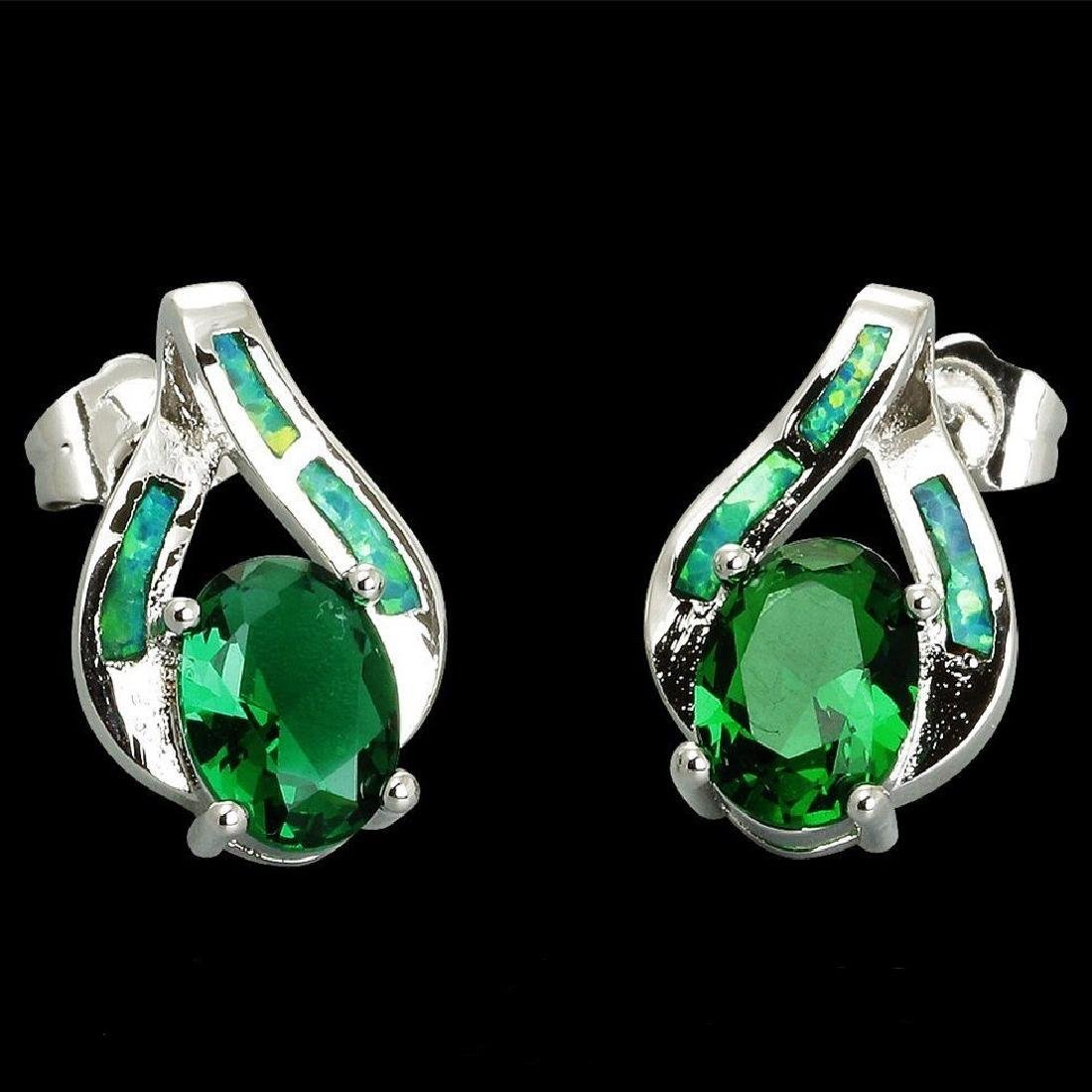 Natural Green Topaz & Opal Earrings