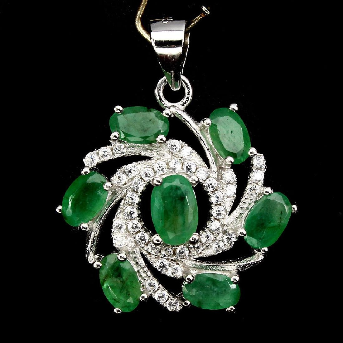 Natural Emerald Earrings & Pendant 48 Carats Set - 2