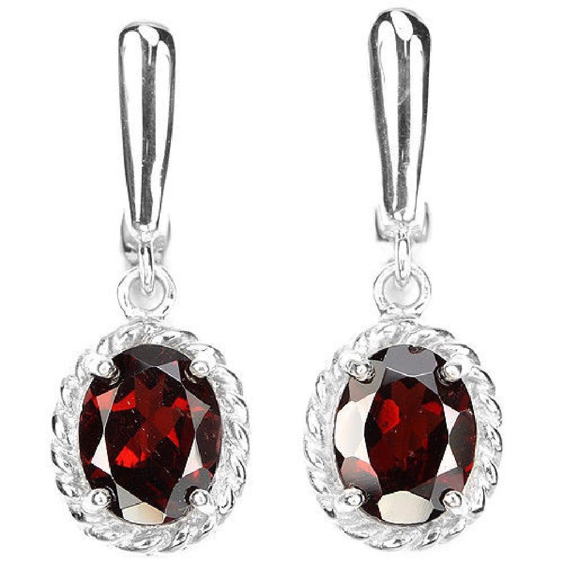 NATURAL DRAK ORANGE RED GARNET Earrings