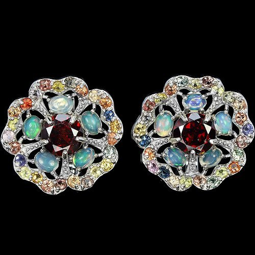 Natural Opal & Multi Gem Earrings